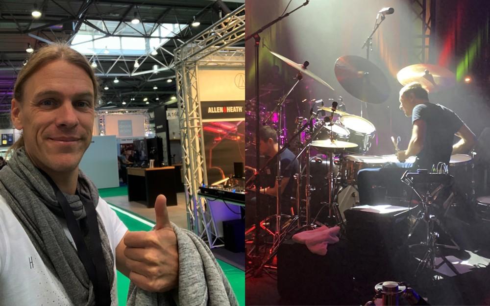 Links: Oli Schulte grüßt aus dem MusicPark Leipzig / Rechts: der Ausnahme-Schlagzeuger Moritz Müller in Aktion